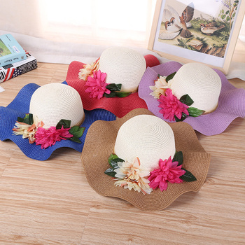 e3bb9fcc2 2018 New Arrival Summer Sunscreen Beach Hat Women Wide Brim Straw Hats With  Flower - Buy Foldable Straw Hat,Mini Straw Hats To Decorate,Flat Wide Brim  ...
