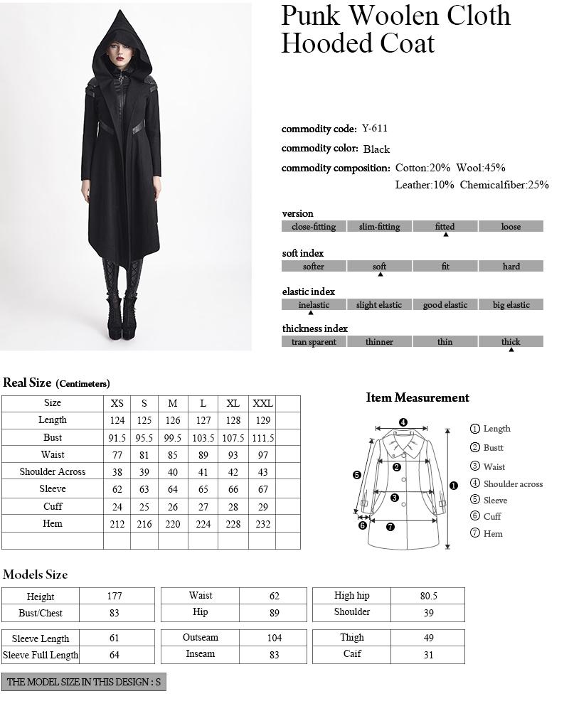 Y-611 Punk Rave Gothic Style Women Long Woolen Hooded Duffle Coat ...