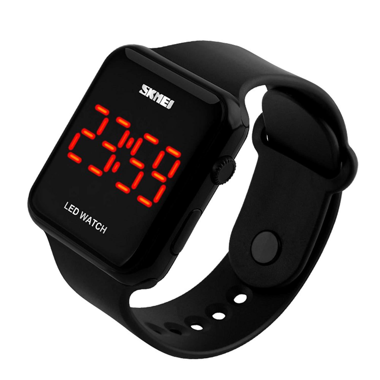 Unisex Men Women Fashion Sport Casual Simple Design Square Dial Rubber Band Digital LED Wrist Watch Black