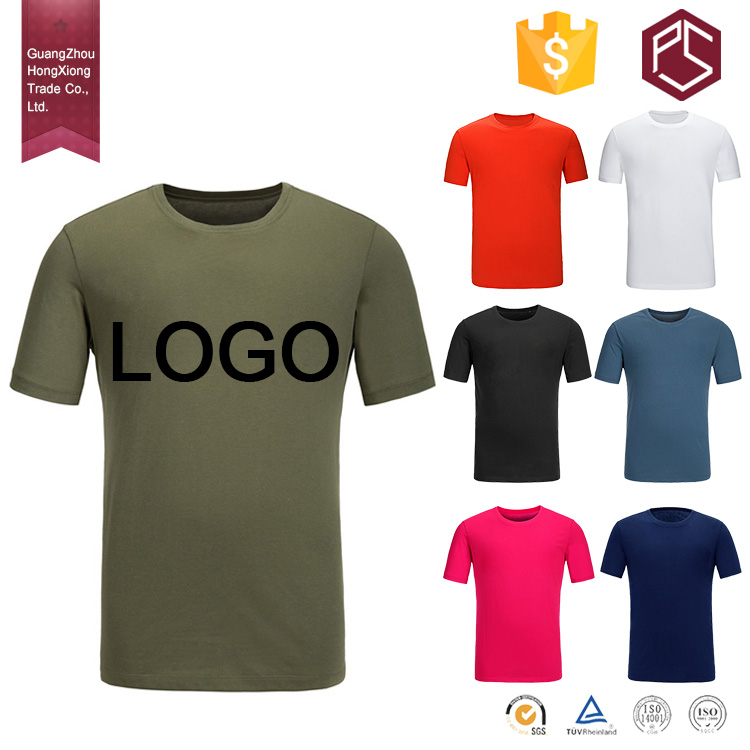 Guangzhou Hongxiong 100%Cotton Short sleeve Round neck Custom Logo t shirt wholesale cheap
