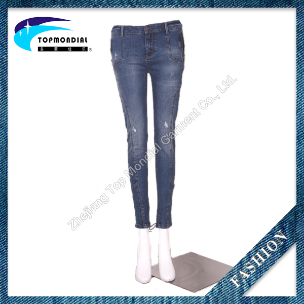 Top customized ripped women jeans,latest design pencil women jeans pants