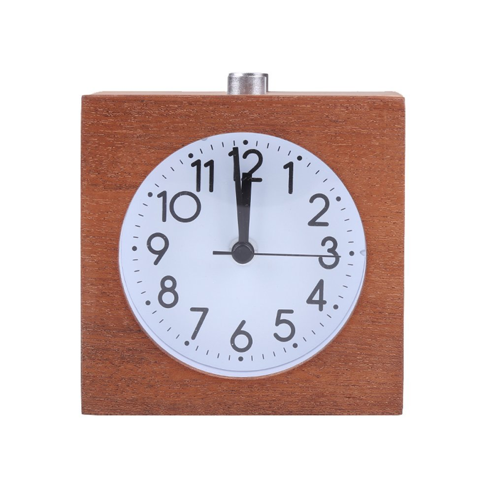 Willcome Handmade Classic Square Wooden Silent Mute Desk Snooze Alarm Clock with Night Light