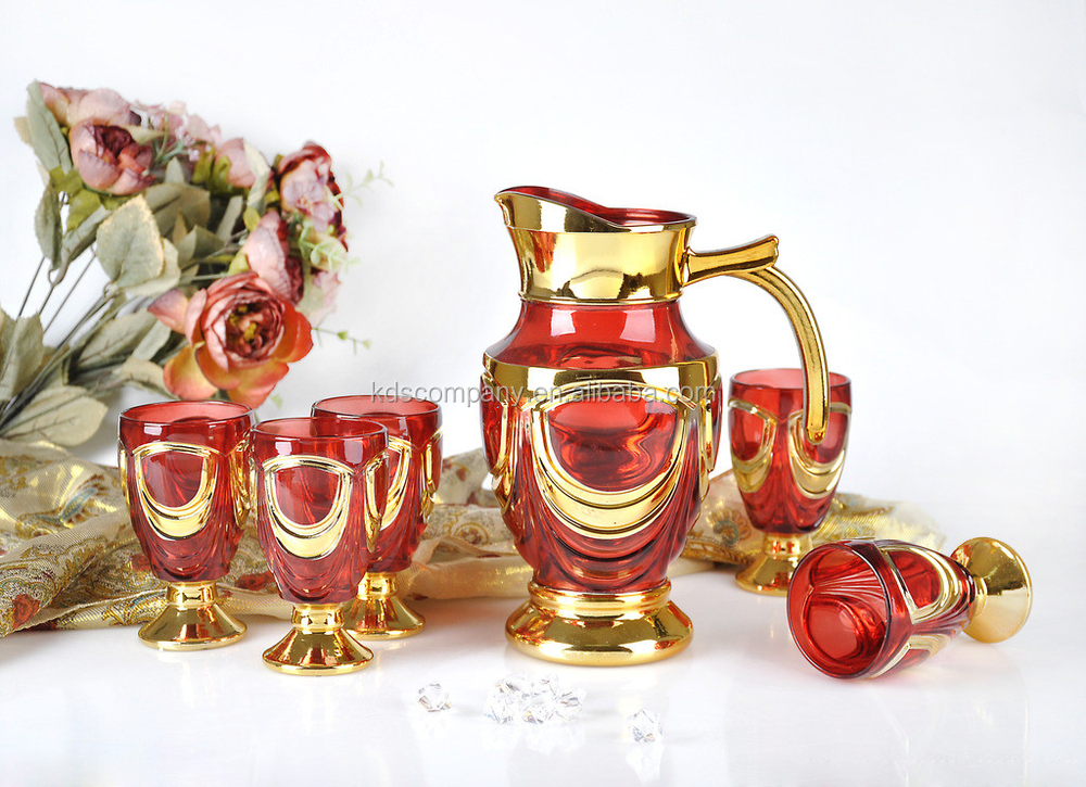 New Hot Sale Glass Gold Drinkware Water Jug Set