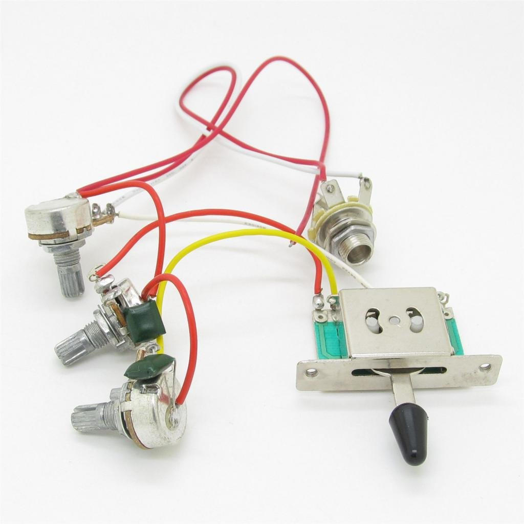 get quotations · guitar wiring harness prewired 3 x 500k pots 1 volume 2  tone control knobs 5 way