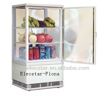 Countertop 4 sides glass cake showcase, drink cooler Suitable to display Cake, Soft Drinks, Fruits and Vitagen