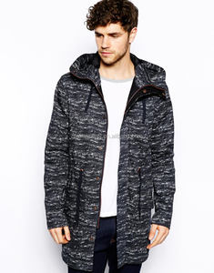 2017 Mens Fashion Long Windproof Speckle Parka jacket for Winter , Fishtail Hem wool blend Parka Jacket, winter jacket