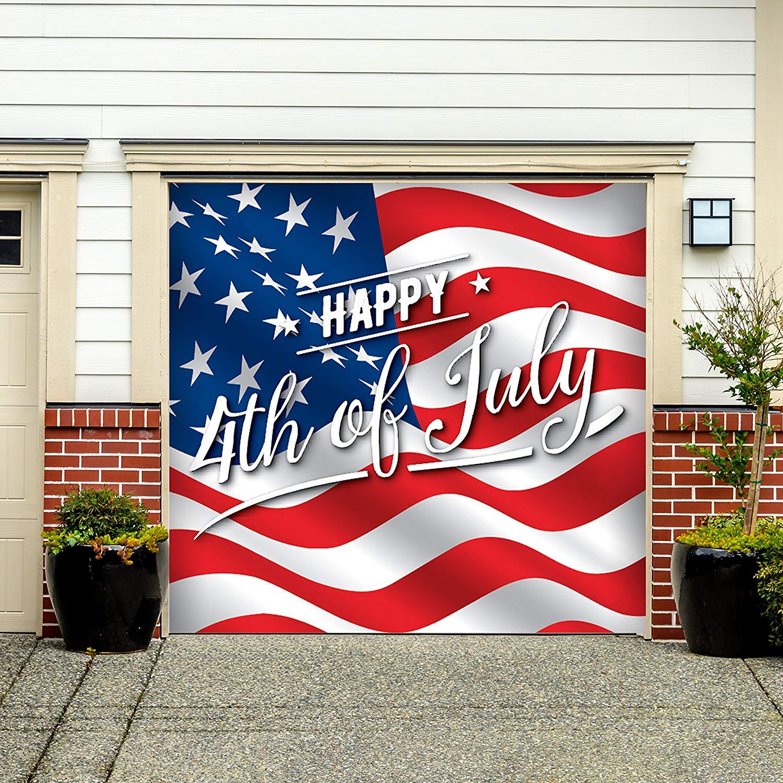 Victory Corps Outdoor Patriotic American Holiday Garage Door Banner Cover Mural Décoration - American Flag Happy 4th of July - Outdoor American Holiday Garage Door Banner Décor Sign 7'x 8'