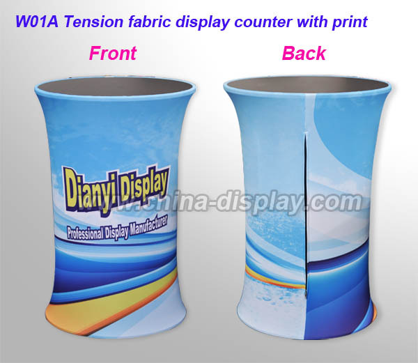 Floor standing round trade show display booth fabric wave tube reception desk