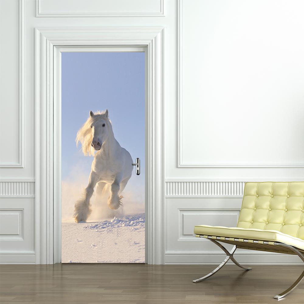 Porta Do Cavalo Branco Auto Adesivo Adesivo De Parede 3d Etiqueta Do  -> Fts De Cavalo Rm Adesivo Pra Quarto