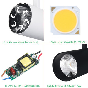 COB 2/3/4 Wires Commerical High Quality Dimmable Adjustable High Lumen Led 45w 50w Cree Cob Track Light Led