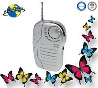 Pocket size am fm analogue radio with belt clip metal antenna speaker