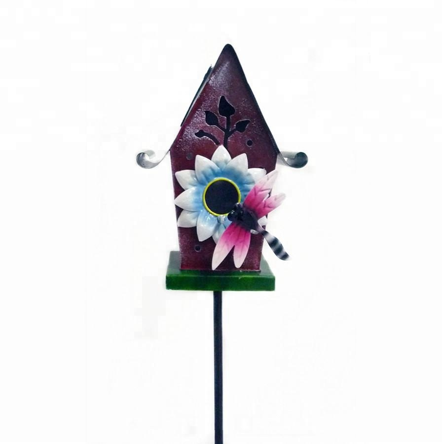 Metal Garden Insect Decoration Bird House With Solar Light