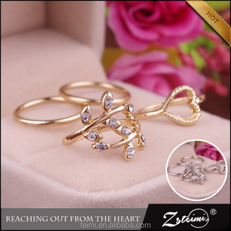 Hot Diamond Jewelry <strong>Trade</strong> Leaves Cordate Circle 4 Piece Joint Diamonds Gold Rings With Low Price