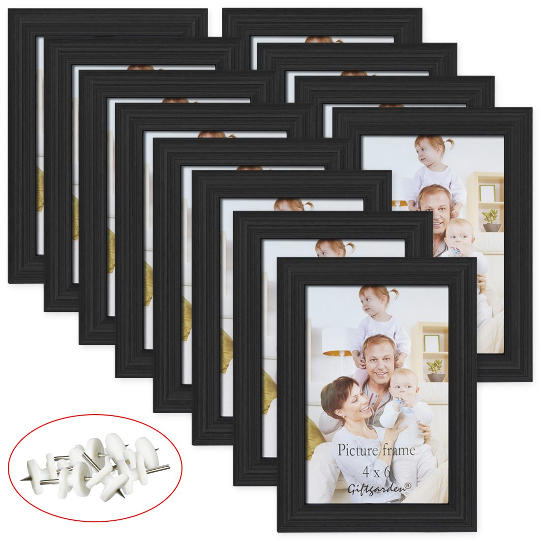 Giftgarden 4x6 Picture Frame Black Photo Frames for Wall or Tabletop, Set of 12
