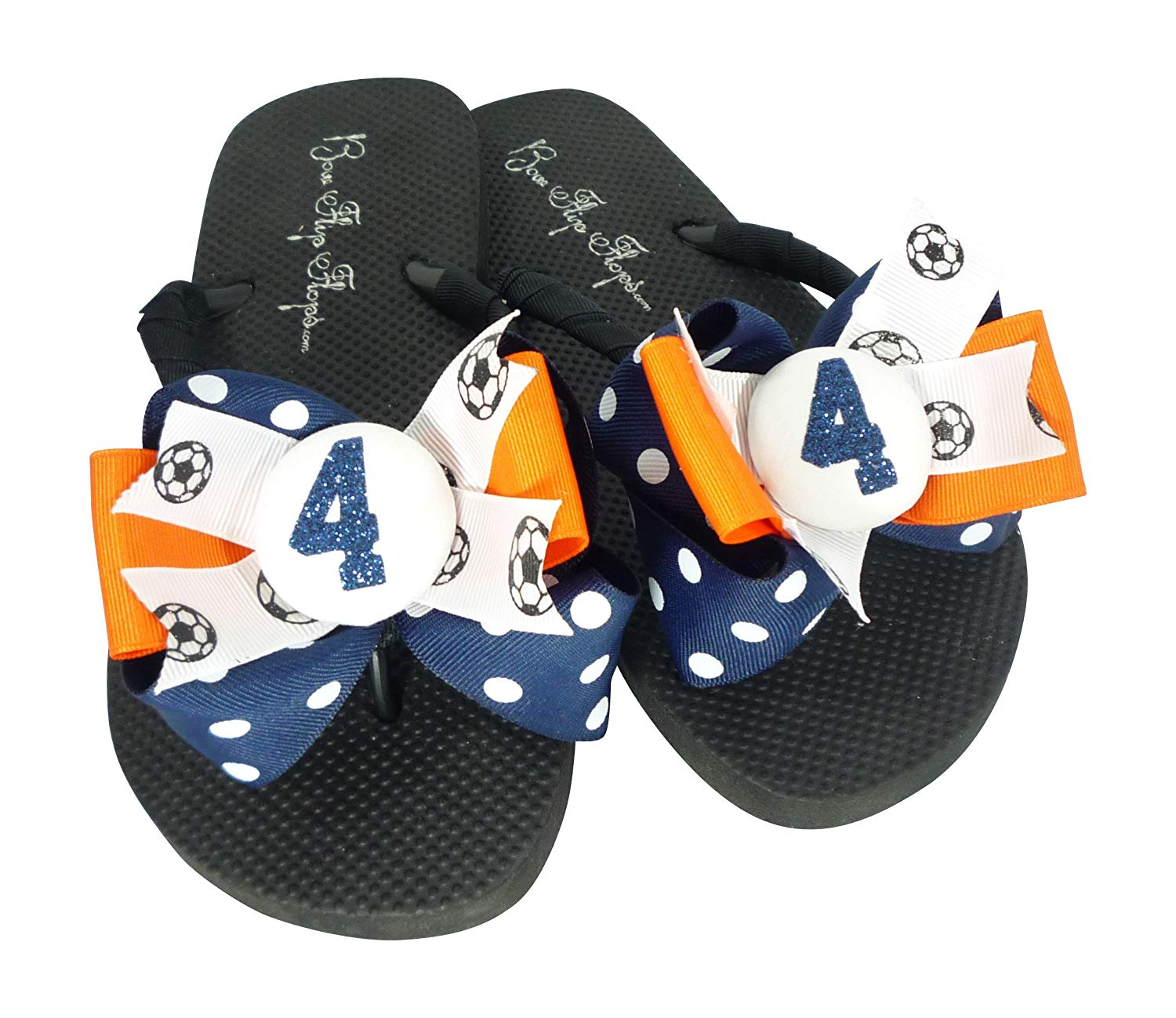 71e6160da74a Get Quotations · Nav   Orange Soccer Number Glitter Bow Flip Flops for  Women