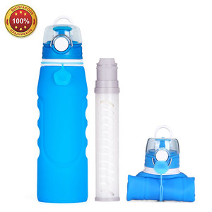 Large Capacity Folding Silicone Collapsible Outdoor Sport Drinking Filter Water Bottle 1000ML