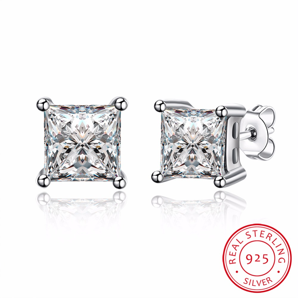SJSVE065 Latest Design Wholesale Price 925 Sterling Silver Jewelry Solitaire Square Cubic Zirconia Stud Earrings for Girls