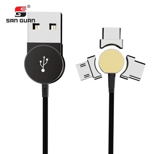 Multifunction 180 degree Rotation Magnetic Braided USB Charging & Data Transfer Type C/Micro USB Cable