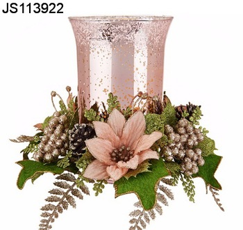 Christmas Candle Rings With Glass Candle Holder And Flower Wreath For Taper  Candles   Buy Christmas Candle Rings Product On Alibaba.com