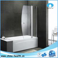pivot curved glass bath tub shower door JK116