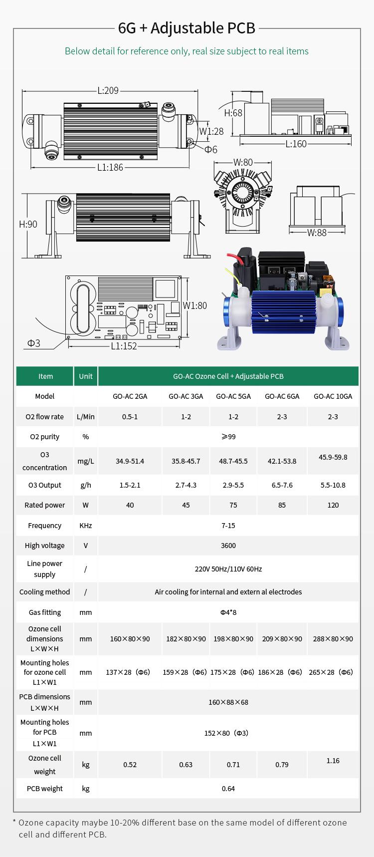 Gerador de ozônio 10gr/langlebigkeit ozon ersatzteile keramikrohr