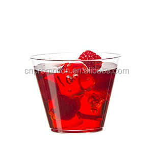Promotional fancy disposable 9 ounce clear crystal hard plastic Party glasses tumblers