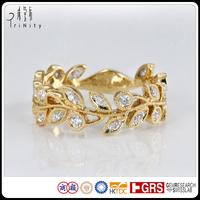 New Kundan Jewellery ! Vintage style Leaf Ring 14K 18K Yellow Gold Diamond Ring Jewelry