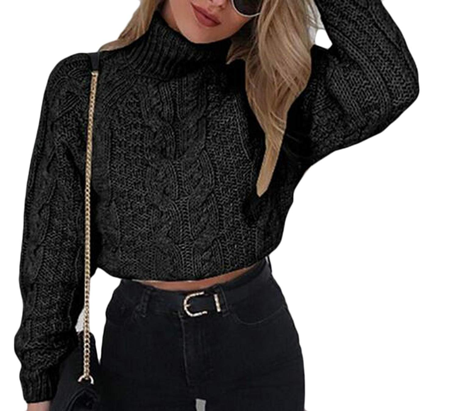 4e603bb810a0e5 Get Quotations · WSPLYSPJY Women s Knit Turtleneck Sweater Crop Top Ribbed  Halter Neck Pullover Black L