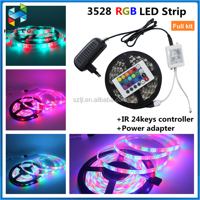LED Strip SMD 3528 Diode Tape Ribbon + 12V 2A Power Supply Adapter +RF Remote Controller Switch 5M 300LED Flexible LED strip