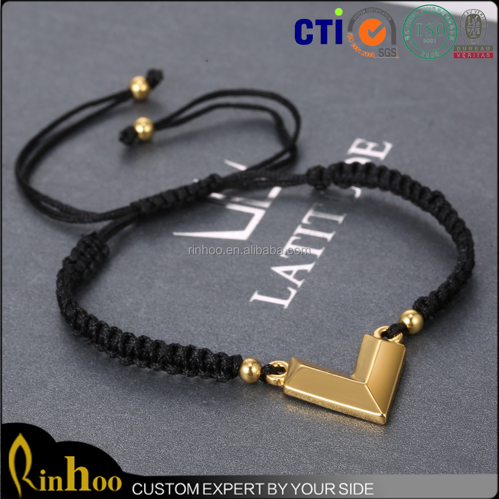 New Fashion Handmade woven Gold Black Charm Custom Braiding Bracelet For Men Macrame
