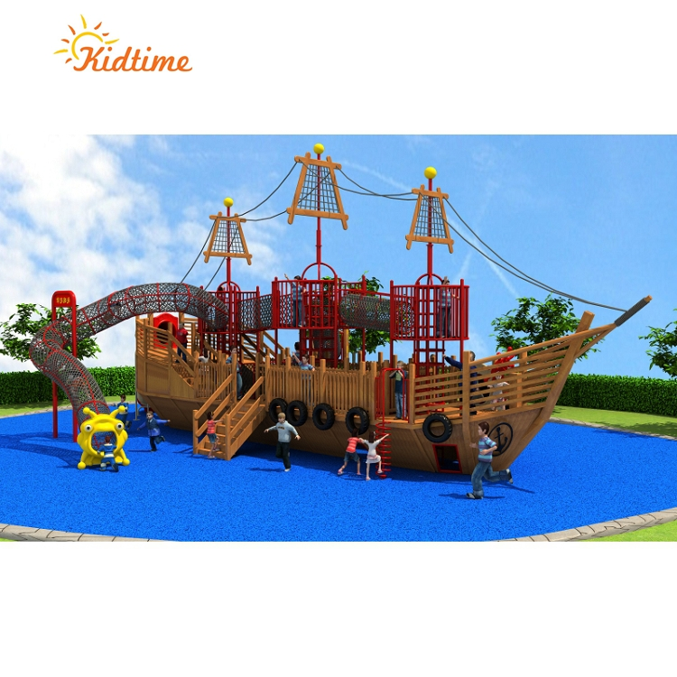 Play Equipment Kids Wood Plastic Composite Outdoor Pirate Ship Wooden Train Playground