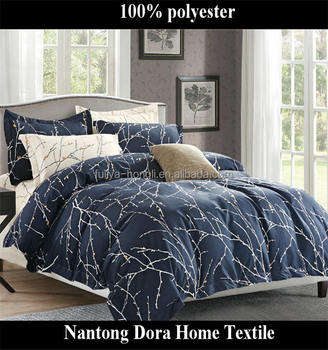 Low Price Bed Sheets 100% Polyester Blue Tree Printing Color Microfiber  Beautiful Bedding Set