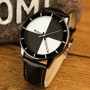 Hot sale leather watch strap with stainless steel case back cheap watch for youth