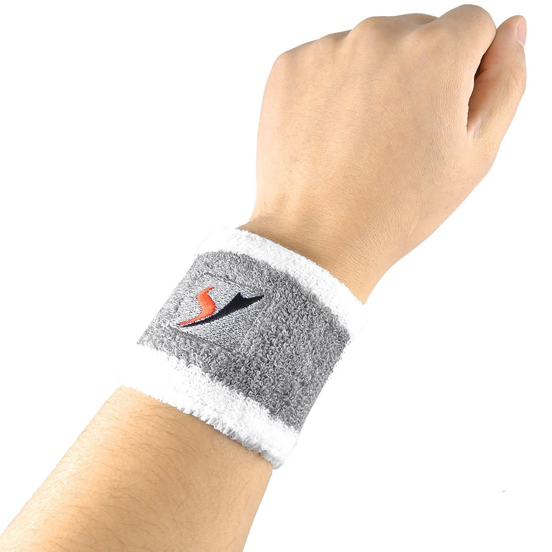 2 Pcs White Gray Elastic Fabric Sports Stretchy Terry Wrist Band Support Protector