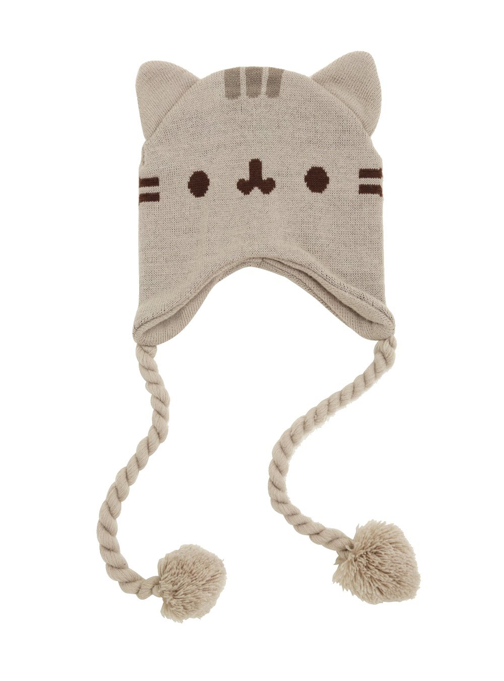 a3f90e75991 Get Quotations · Pusheen Cat Face Ears Beanie - Pusheen the Cat Beanie Hat  - Grey with Tassels