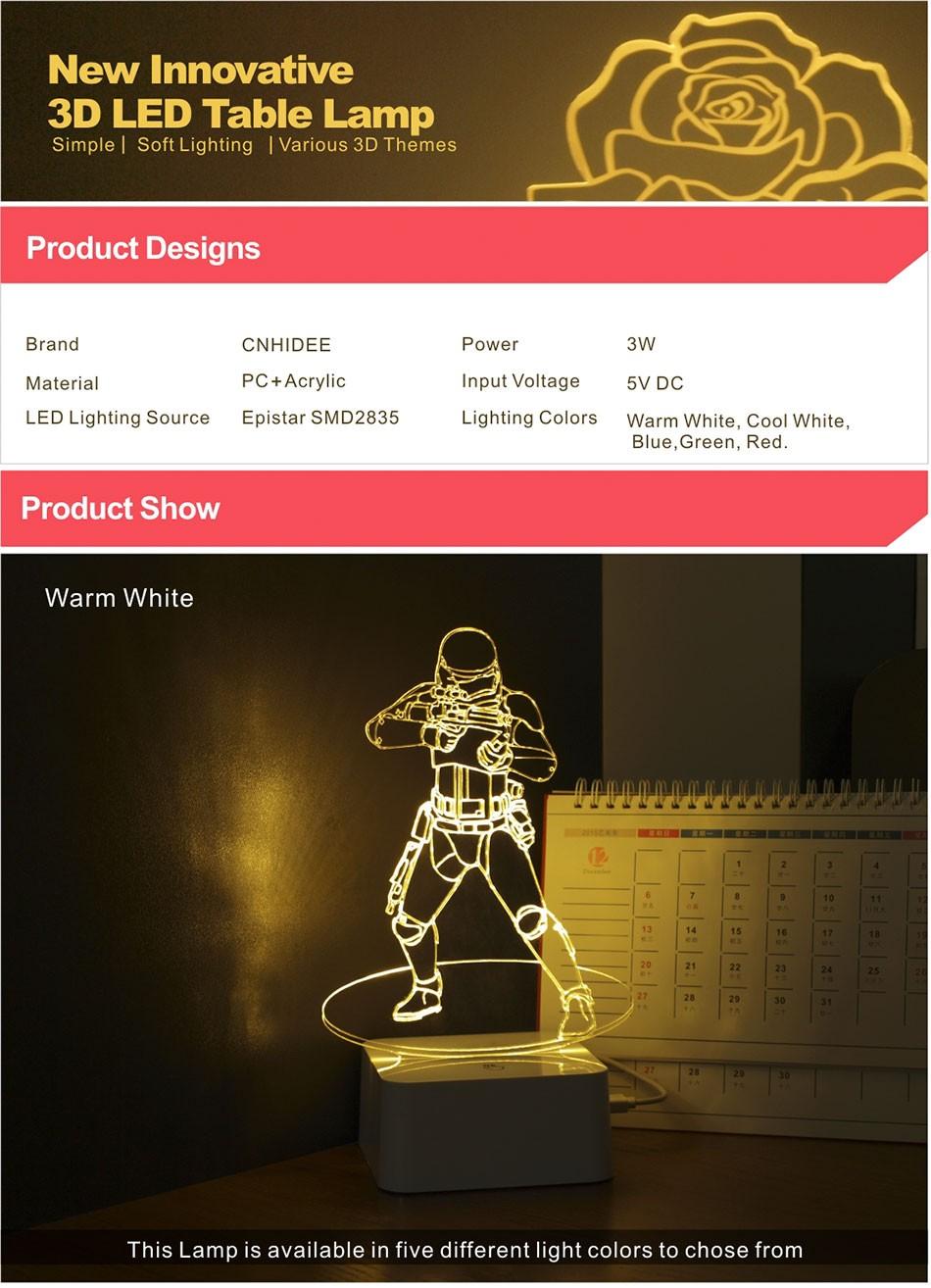 Luz de Noche Led for Star War Fans Imperial Stormtrooper 3D Lamp as Home Decor Bedroom USB Nightlight  (1)