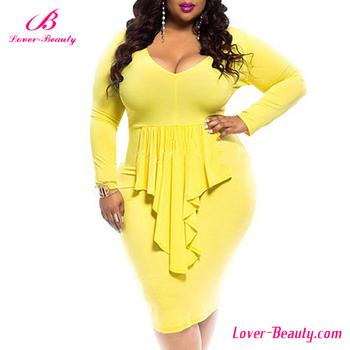e01f1c604c Amarillo al por mayor nuevo estilo vestido de noche para las señoras gordas