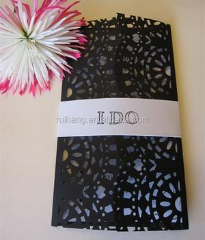 Rustic And Elegant Modern Design Black Design Laser Cut Wedding ...