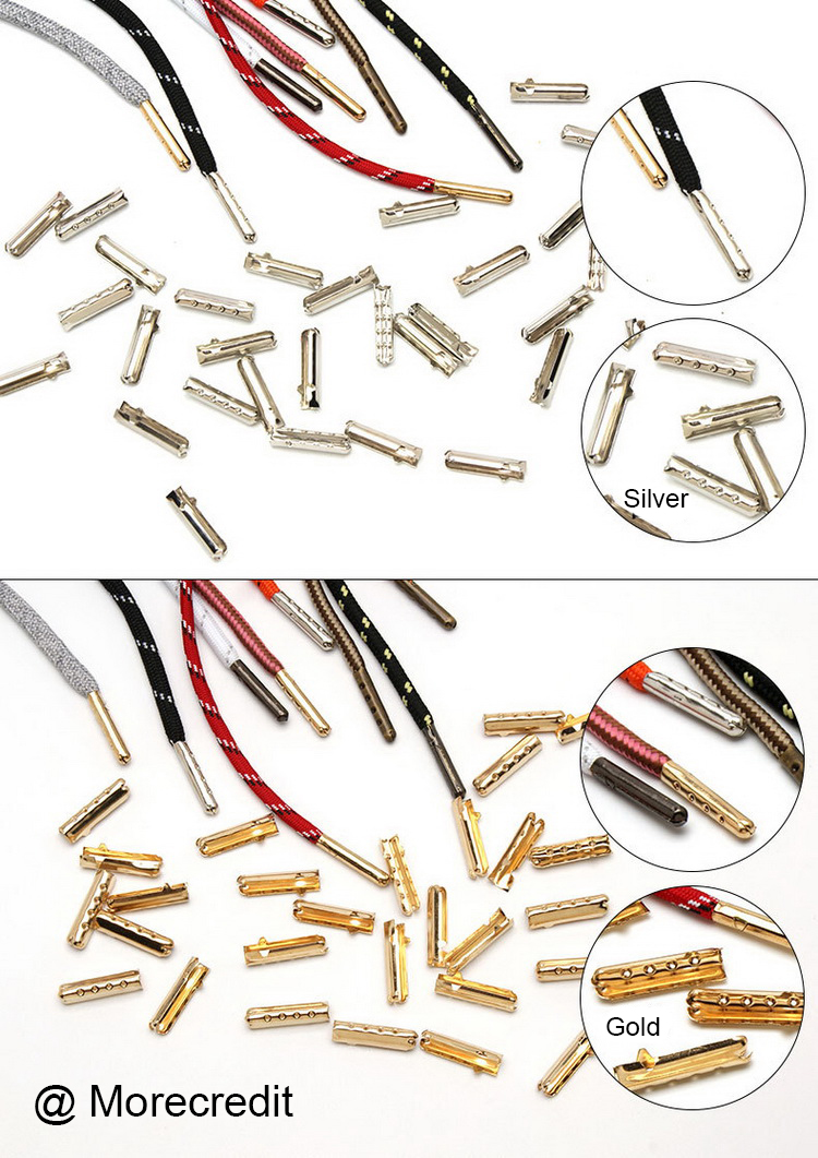 Wholesale Seamless Custom Metal Aglets Mini Metal Brass Bullet Aglets Shoelace Tips Diy Shoes Accessories