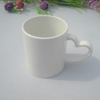 Wholesale heart handle heat transfer white cup sublimation mug