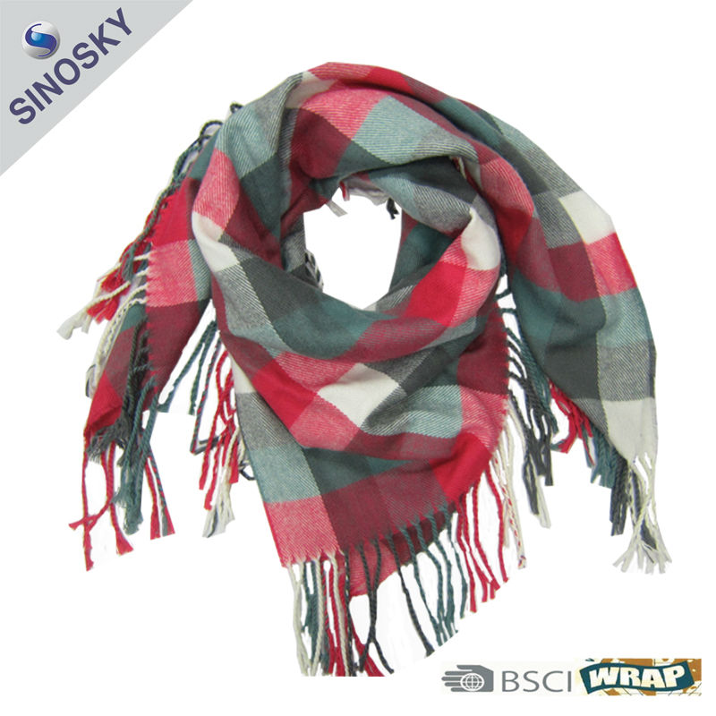 red and white checked lady plain square scarf