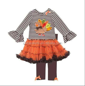 Kids Clothing Wholesale Turkey Embroidery Girls Thanksgiving Outfit