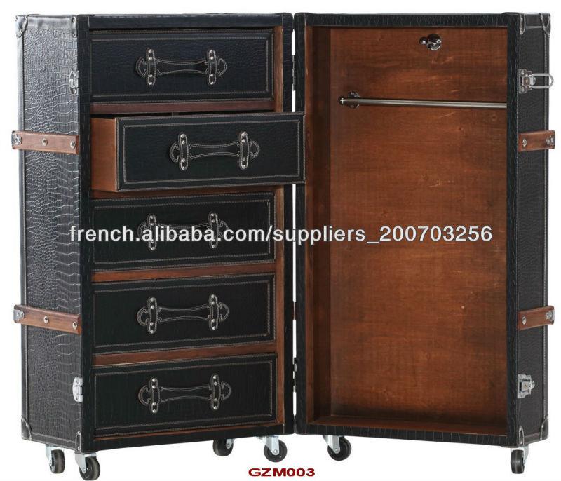 antique malle armoire en simili cuir croco noir mat autres meubles pliants id de produit. Black Bedroom Furniture Sets. Home Design Ideas
