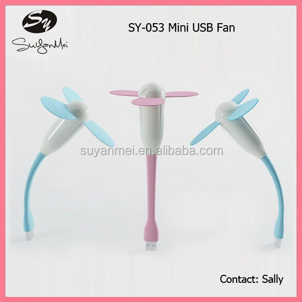 cute mini USB rechargeable fan USB three blade fan for summer