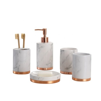 Marble effect 5pcs ceramic bathroom accessories set with rose gold metal base