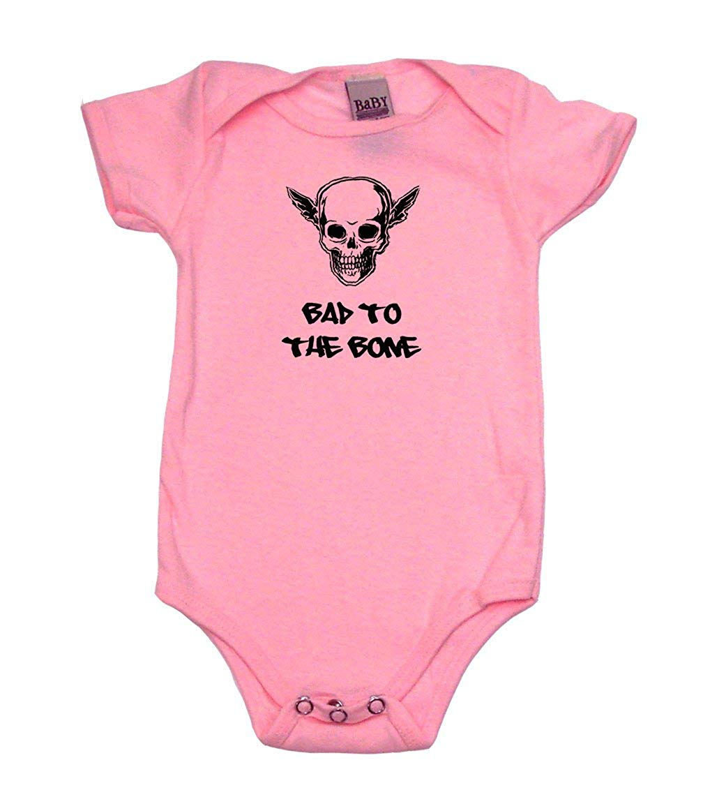 37123bdd185 Get Quotations · Bad To the Bone Funny Baby Clothes Boy   Girl Bodysuits