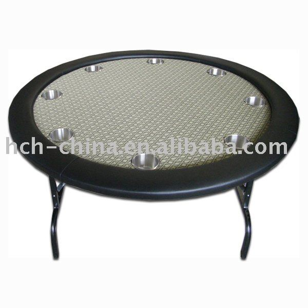 52-inch Round 8 Person Poker Table With Golden Suited Speed Cloth