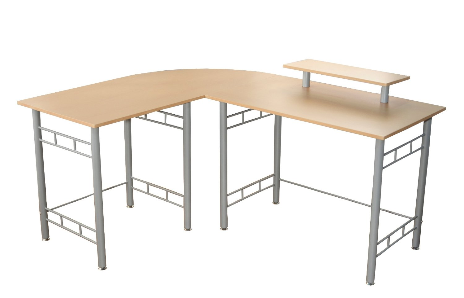 Target Marketing Systems Modern L-Shape Wrap Computer/Writing/Office Corner Desk With Raised Hutch For Computer Monitor, Natural