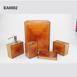 EA0002 bathroom products burnt orange bathroom accessorieswith soap dispenser and soap dish also toiletbrush holder
