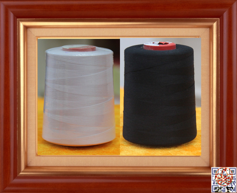 raw white and black 100% spun polyester sewing thread 40s/2 20/3 20/2 50/2 60/2 high tennacity poly sewing yarn
